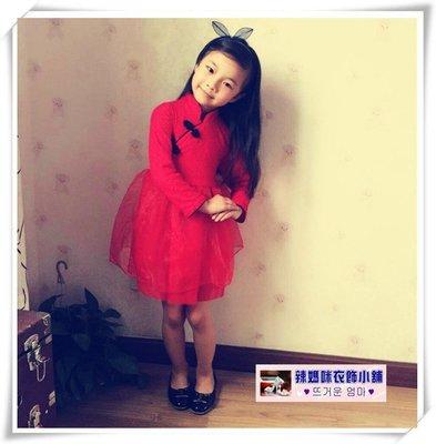 •*~ 辣媽咪衣飾小舖 ~*•❤童裝系列❤N530199韓版立領唐裝旗袍加絨加厚長袖蕾絲蓬蓬裙
