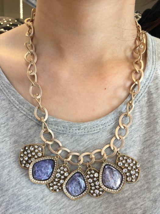 【江南小舖】 正韓-多寶石鑲鑽水晶頸鍊