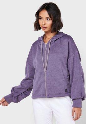 FOCA ADIDAS GATHERED 紫 愛迪達  運動外套  寬版 短版 連帽外套 女款 FR8292