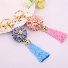 鑰匙圈配件吊飾----花朵絲線流蘇鑰匙扣