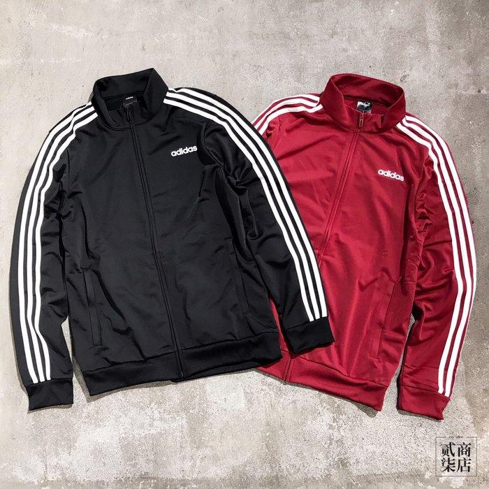 (貳柒商店) adidas Ess 3S Jacket 男款 基本 三線 立領 外套 黑 DQ3070 紅 EI4891