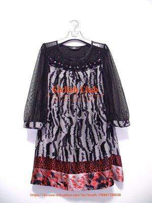 【Girlish Club】全新專櫃穎蒂豹紋蕾絲花朵透膚長上衣洋裝(m872)sz韓國日本sly羽絨外套三二一元起標