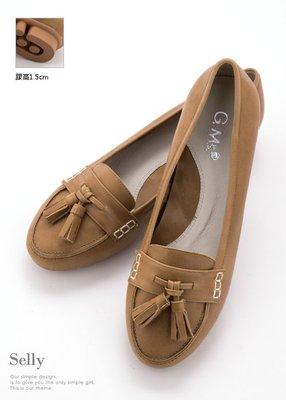 Selly outlet 優雅雙流蘇-牛皮柔軟厚底莫卡辛休閒鞋(03S83)焦糖駝34號