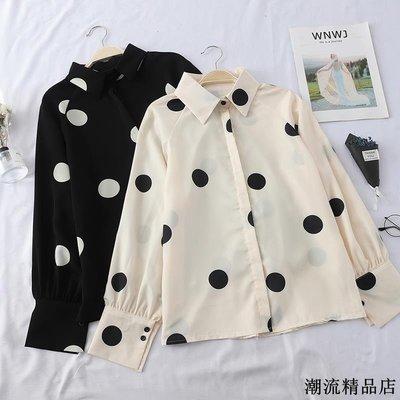 春裝新款韓版時尚洋氣波點襯衫女寬松顯瘦長袖打底上衣潮