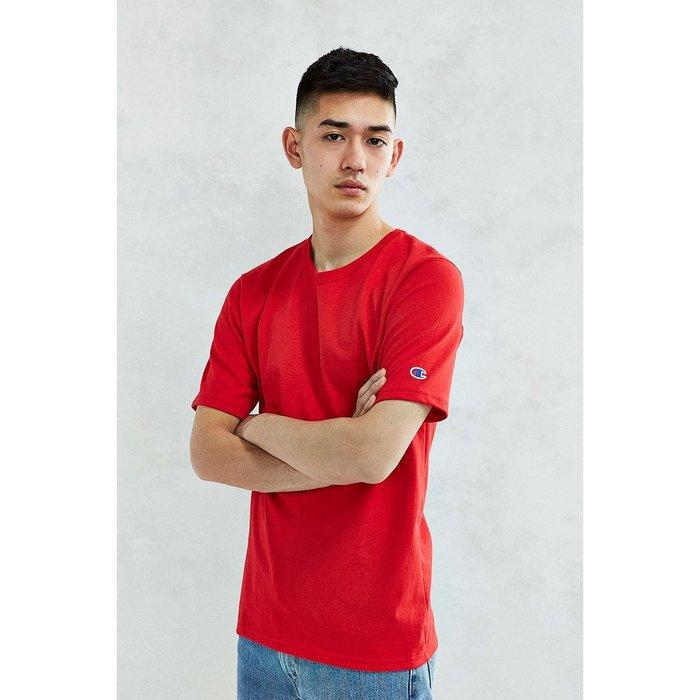 美國百分百【Champion】冠軍 T恤 短袖 T-shirt logo 素T 高磅數 上衣 紅色 男款 棉T I203