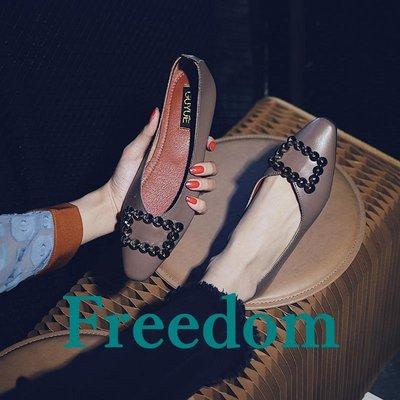 Freedom女鞋船鞋女春季2019新款百搭正韓小方頭平底單鞋淺口軟底孕婦鞋一腳蹬