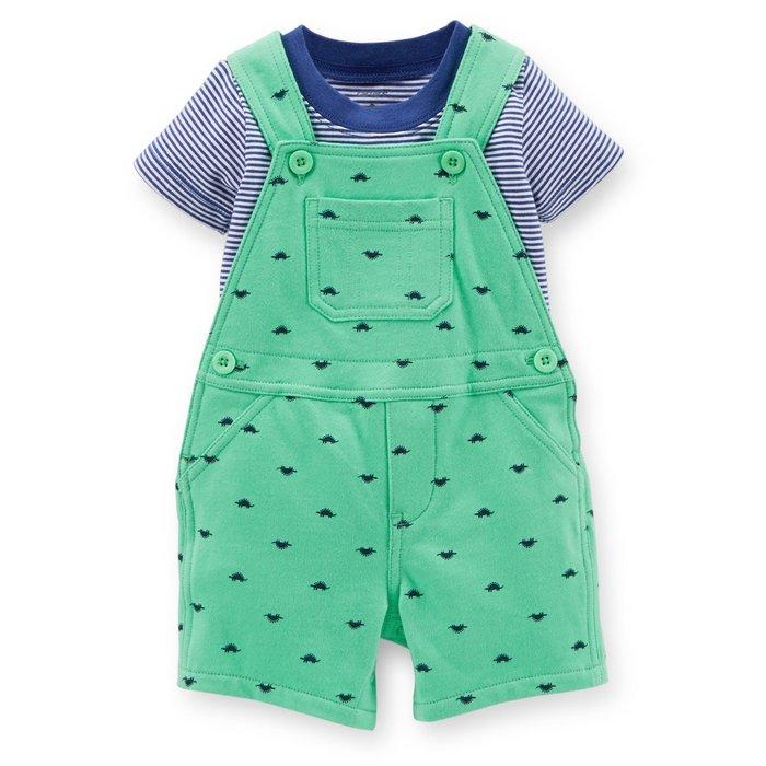 【Carters 卡特】Carter's 美國正品 寶藍色條紋短袖T恤+湖水綠吊帶褲 男寶寶兩件組套裝 短袖套裝