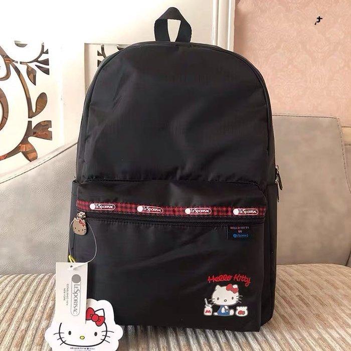 LeSportsac x Kitty 黑底蘇格蘭 凱蒂貓聯名系列 8266 旅行雙肩降落傘防水後背包 7990 限量
