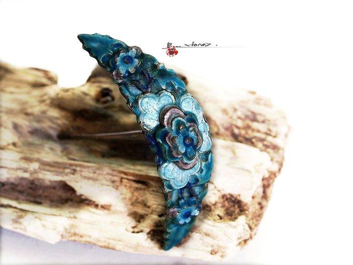 銀囍古董銀飾-老銀手鐲 純銀手鍊 清代燒藍宝相花荷花紋簪
