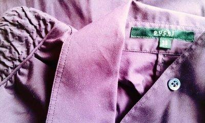 GUCCI 深紫色小包袖背心襯衫