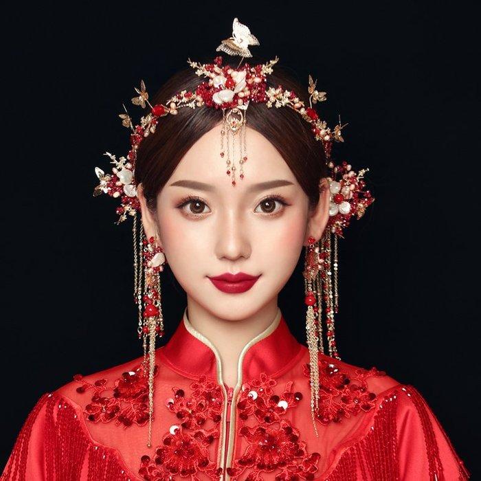 洛克小店中式古裝新品新娘結婚秀禾服頭飾品鳳冠紅色古典配飾
