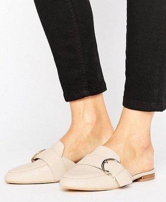 ◎美國代買◎ASOS金屬皮帶扣裝飾皮鞋楦頭拖鞋身雅痞英倫風皮鞋式拖鞋~歐美街風~大尺碼