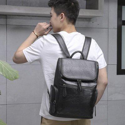 皮革後背包 雙肩包-簡約休閒百搭大容量男包包2色73in96[獨家進口][米蘭精品]