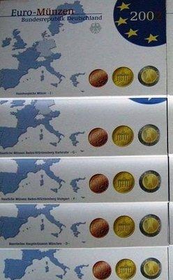 九九懷舊珍品- [歐元]德國官方設置2002年ADFGJ完整序列證明幣共40枚