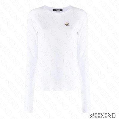 【WEEKEND】 KARL LAGERFELD Ikonik 卡爾 長袖 上衣 T恤 白色 20春夏