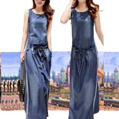 牛仔連衣裙 - 圓領無袖抽繩設計連身長裙  #ZF0516070