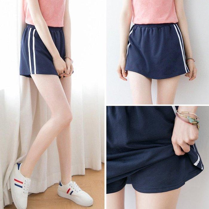 【Hao Da】全館399免運↘「M~XL。現貨」3色 側線條 假兩件褲裙 (P1271)