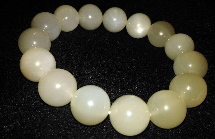 優質頂級大咪咪14mm 顆顆有光 月光石手珠 情人石手珠 白光 奶油體 美麗大方