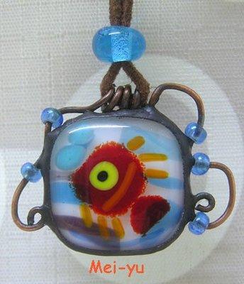 豬豬姨陶屋~玻璃魚項鍊~魚項鍊~Handcrafted fused glass/stained glass fish necklace~