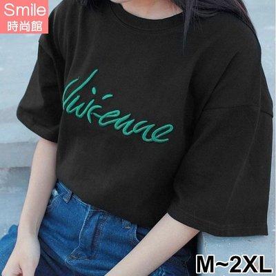 【V2560】SMILE-輕閑甜氛.字母圓領寬鬆中長袖上衣