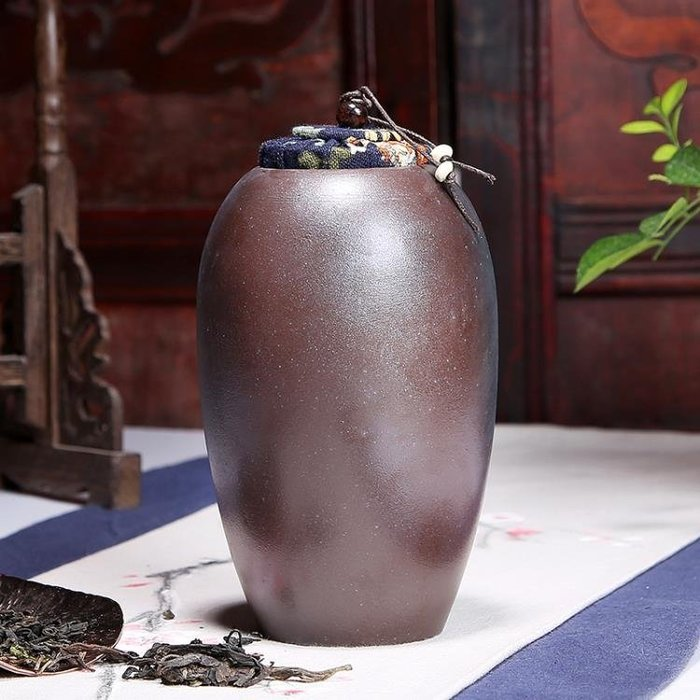 [免運]陶瓷茶葉罐大號粗陶柴燒 砂汝窯普洱餅密封儲❥『小果樹』