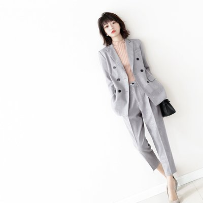 ☆TANG KOREA*╮正韓 千鳥格 亮片點綴雙排扣西裝+西裝褲
