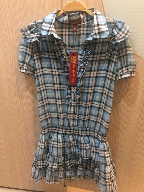 小花別針、專櫃品牌【Knights Bridge】雪紡藍色格紋短袖洋裝