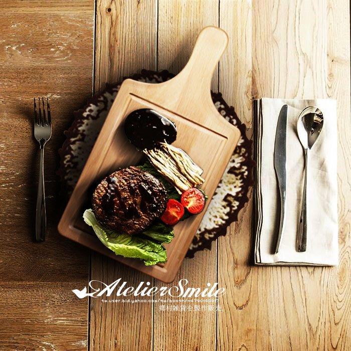 [ Atelier Smile ] 鄉村雜貨 歐洲進口橡木 烘焙廚房專用 橡木製凹槽拖盤 甜點蛋糕盤 大款 (現+預)