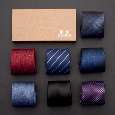 ZIHOPE 制服8CM男士商務正裝領帶條紋新郎結婚韓版上班職業黑紅色青年ZI812