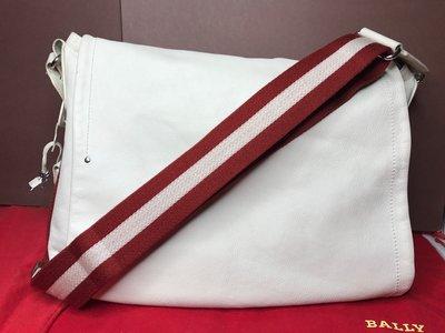 『保證真品』BALLY包 二手 小牛皮 經典紅白織帶掀蓋斜背包 肩背包 郵差包