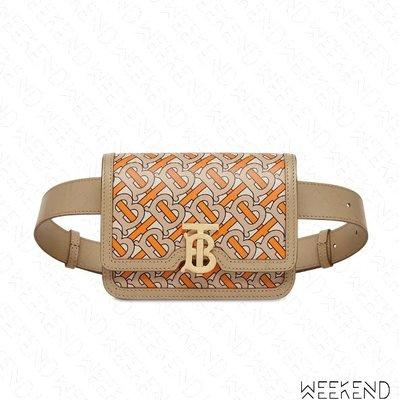 【WEEKEND】 BURBERRY Belted Monogram TB 皮革 手拿包 腰包 橘色 19秋冬