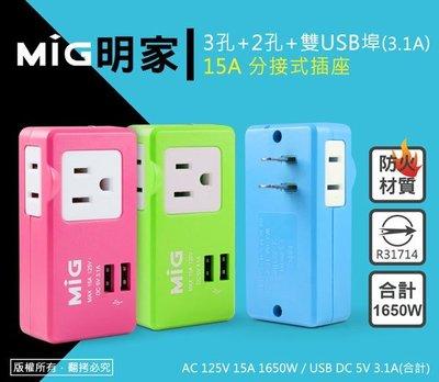 15A分接式插座 商檢合格 MIG明家 2P 3孔+2孔+雙USB埠 防火材質 擴充插座 防塵絕緣套 3.1A Max