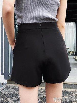 韓版雪紡a字高腰短褲女夏2019新款薄顯瘦黑色西裝寬鬆闊腿褲子潮