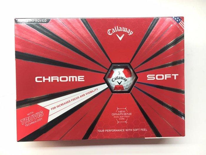 ┌喻蜂高爾夫┐Callaway Chrome Soft Truvis Red 高爾夫球 現貨供應中