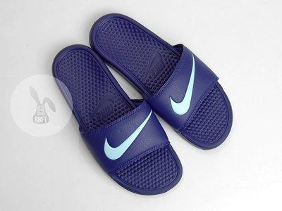 [RabbitFoot] NIKE BENASSI SWOOSH 312432-540 紫/粉藍
