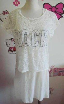 兩件式蕾絲緹花透膚ROCK短版上衣外罩衫+無袖雪紡紗裙擺洋裝連身裙襯裙背心裙套裝99+一元起標
