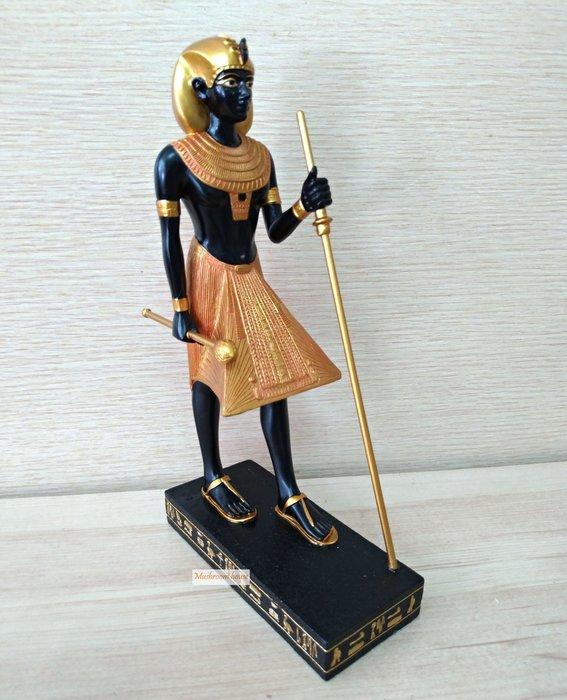 點點蘑菇屋 歐洲進口~黑金色古埃及祭師擺飾品 古典藝術品 權杖 古埃及文明 埃及古文 圖騰 Egypt 現貨