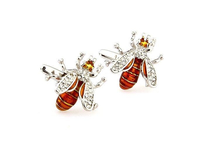 珍鑽釉彩 水晶蜜蜂造型 男女士袖口 袖扣袖釘 155481