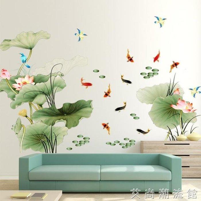 荷花壁紙牆紙自粘牆貼畫客廳臥室房間溫馨背景牆壁裝飾品貼紙防水【樂購大賣家】