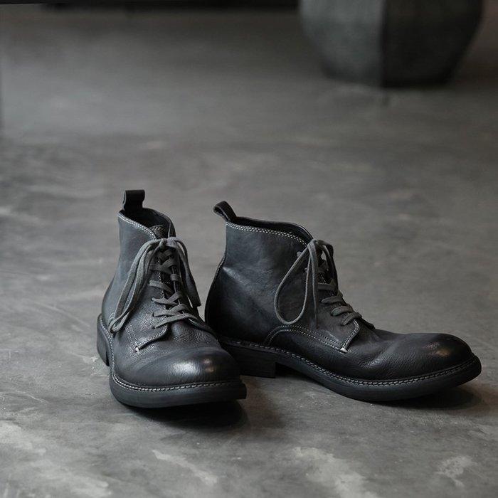 香港代購 義大利馬丁靴 手工真皮 牛皮男靴 復古 日系簡約 休閑風格 系帶高幫短靴 翹頭圓頭男鞋 機車靴運動鞋