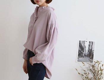轉賣 二手 Alice's Fitting Room 愛麗絲衣帽間 韓國連線 小荷葉領薄短絨襯衫 米色