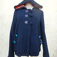 jacob00765100 ~ 正品 muji 無印良品 黑色 牛角扣連帽 羊毛長大衣/外套 size: S