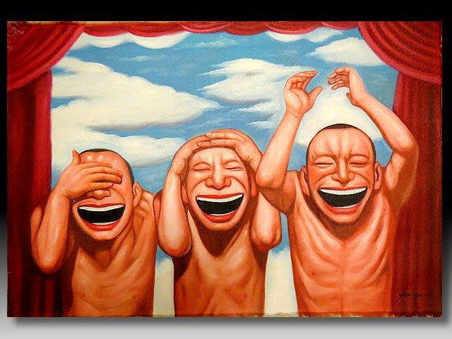 【 金王記拍寶網 】U1228  九O年代當代亞洲藝術家 岳敏君款 手繪油畫一張 ~ 罕見系列作品 稀少 藝術無價~