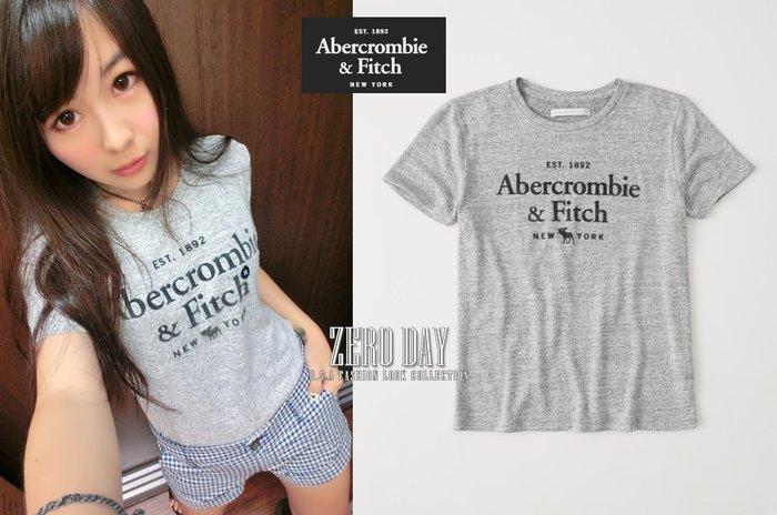 【零時差美國時尚網】A&F真品Abercrombie&Fitch Cozy Logo Tee麋鹿字母針織t-灰色