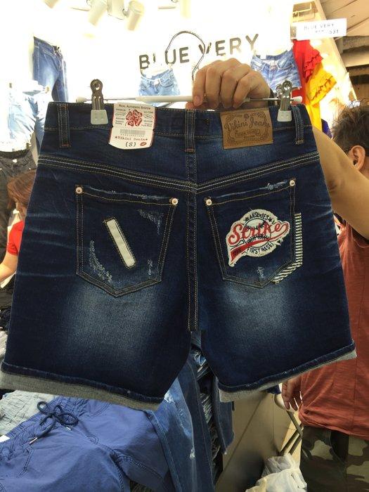 【江南小舖】正韓--定腰式口袋棒球牛仔短褲***零碼出清