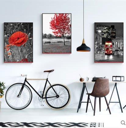 『格倫雅』紅色巴黎 現代簡約裝飾畫埃菲爾鐵塔掛畫沙發客廳壁畫墻畫街景^21755