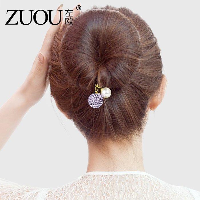 Lissom韓國代購~盤髮器 丸子頭髮飾水鉆球球女士新款蓬松懶人海綿盤頭花苞頭工具