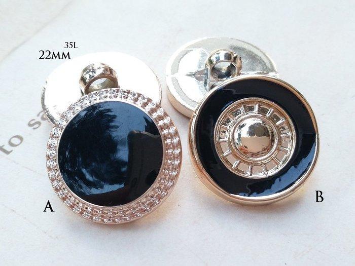DAda 緞帶.I25051-Φ22mm黑色滴膠玫瑰金鈕扣(自選)1個$10