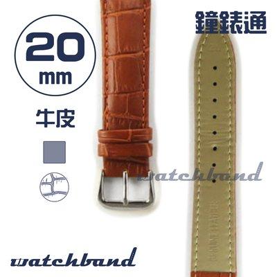 【鐘錶通】C1.21AA《霧面系列》鱷魚格紋-20mm 霧面棕┝手錶錶帶/皮帶/牛皮錶帶┥