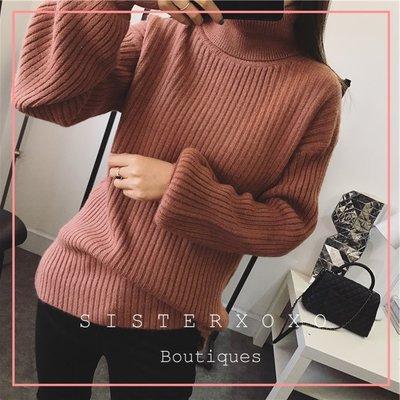 已斷貨- 韓國貨代購 簡約質感  優雅歐美風 女人味慵懶性感大高領 燈籠袖 設計感毛衣針織衫